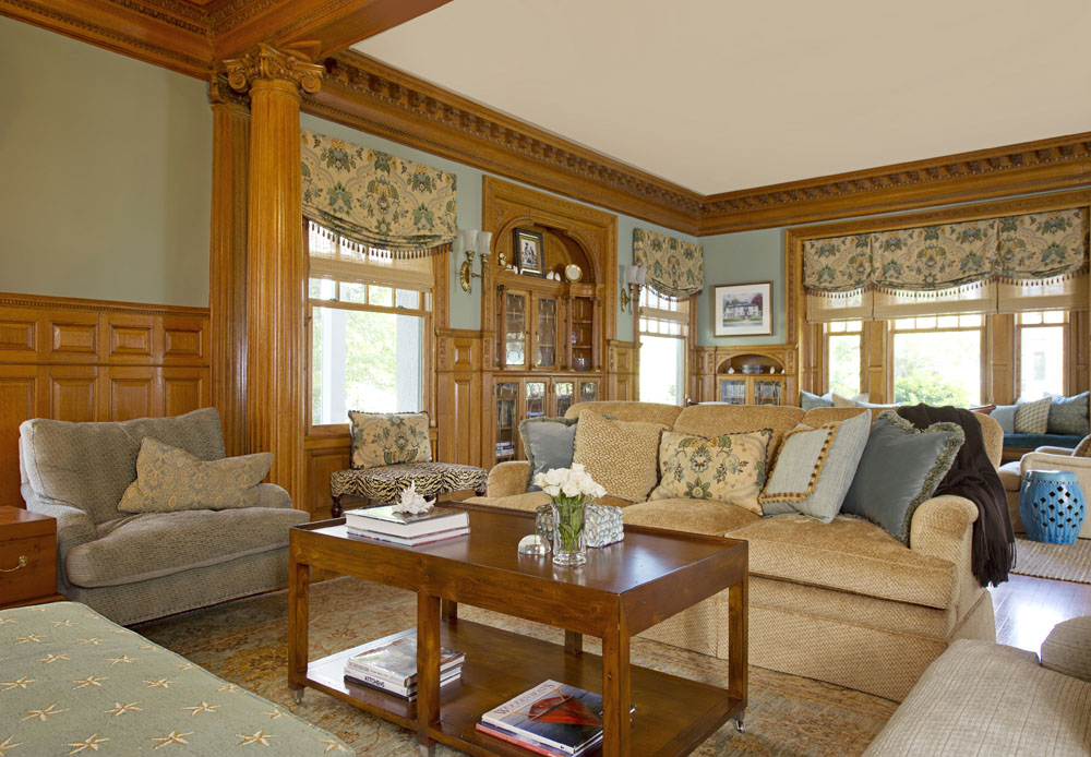 This Elegant Living Room With Handcrafted Milled Woodwork Throughout Was Softened Touches Of Blue Pam Manchester Interior Designers Found The Perfect